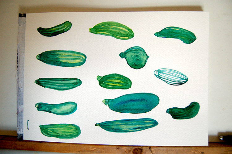 watercolour courgettes drawing table