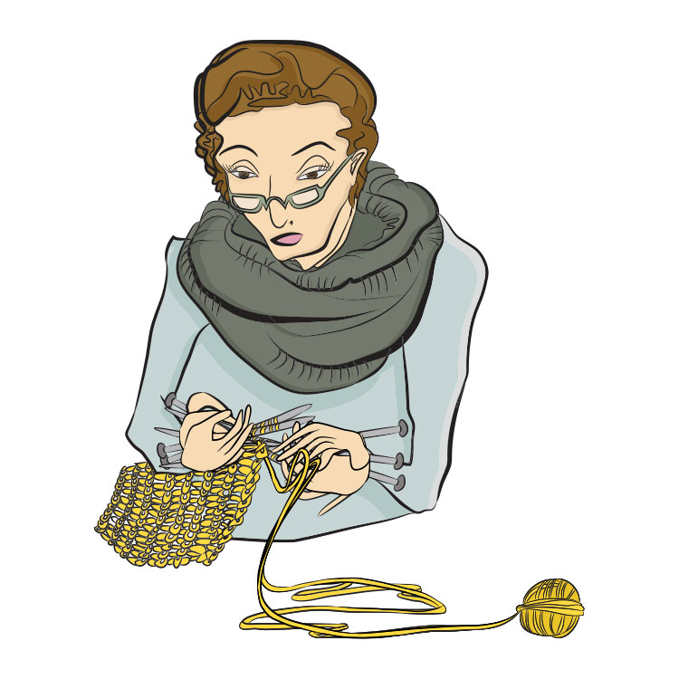 lady with glasses knitting