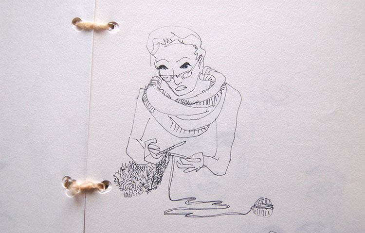 drawing of a lady knitting