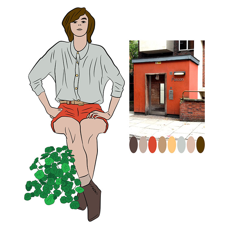 red building colour palett lady with coloured clothes