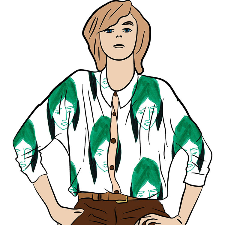 Green lady drawing shirt pattern | Wildfowldesigns.com